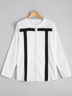 Kontraste Langarm Bluse Mit Knöpfe - Weiß 2xl