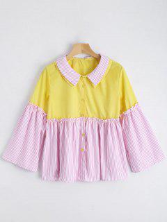 Contrast Button Up Striped Blouse - Pink