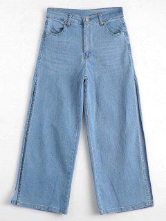 Ninth High Slit Wide Leg Jeans - Denim Blue L