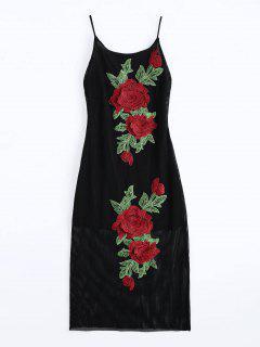 Floral Patched Fishnet Cami Dress - Black M