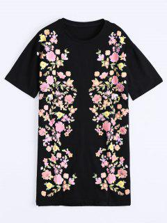 Floral Print Drop Shoulder Shift Dress - Black M