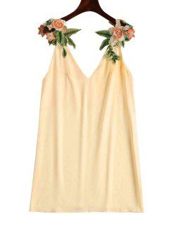 Floral Patched Shift Dress - Champagne S