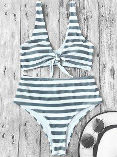 Knotted Striped High Waisted Bikini Set - Stripe M