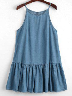 Keyhole Casual Ruffles Slip Dress - Denim Blue L
