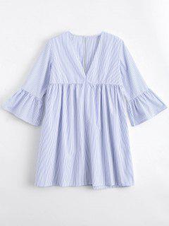 Flare Sleeve Stripes Cut Out Tunic Dress - Stripe M