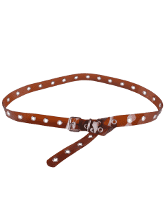 Jelly Color Pin Buckle Rivet Hole Belt - Brown