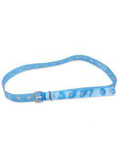 Jelly Color Pin Buckle Rivet Hole Belt - Blue