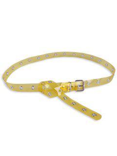 Jalea De Color Pin Hebilla Rizo Agujero Cinturón - Amarillo