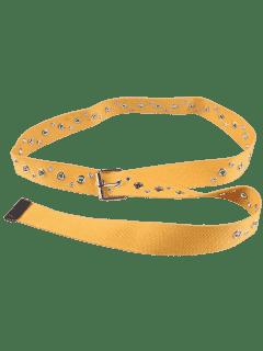 Hebilla Del Pin Hebilla Redonda Del Remache Cinturón Embellecido - Amarillo