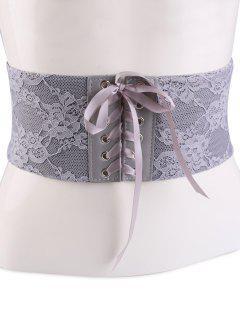 Lacework Lace Up Vintage Corset Belt - Gray