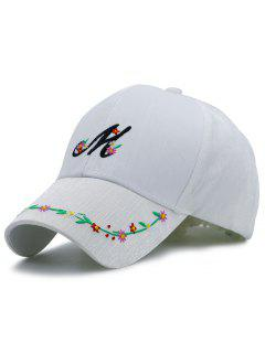 Letter Flowers Embroidery Baseball Hat - White