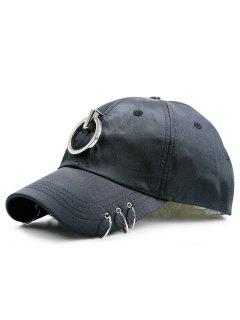 Alloy Circles Embellished Baseball Hat - Black