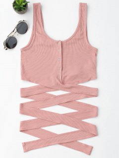 Knitted Crossover Button Up Tank Top - Rosa