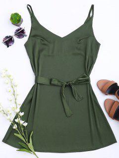 Vestido Con Tirante Fino De Satén Con Cinturón - Verde Del Ejército L
