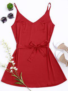 Robe à Bretelle En Satin Avec Collier Choker - Rouge S
