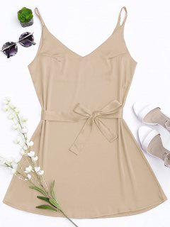 Satin Cami Slip Dress With Choker Strap - Complexion L