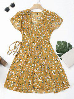 Tiny Floral Mini Wrap Dress - Yellow M