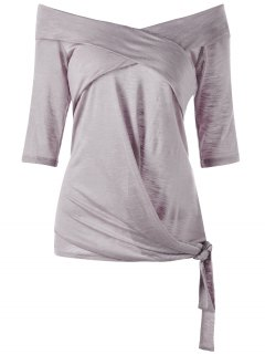 Plus Size Off The Shoulder Tie Side Top - Smashing 5xl