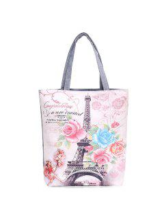 Canvas Painted Shoulder Bag - Pink