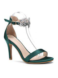 Rhinestone Flower Open Toe High Heel Sandals - Blackish Green 40