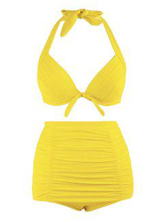 Plus Size Halter Vintage High Waist Bikini Swimwear - Yellow 3xl