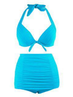 Plus Size Halter Vintage High Waist Bikini Swimwear - Lake Blue 4xl