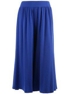 Plus Size Palazzo Wide Leg Capri Pants - Blue 5xl