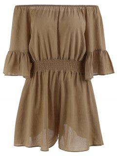 Plus Size Ruffled Off The Shoulder Chiffon Romper - Brown 3xl