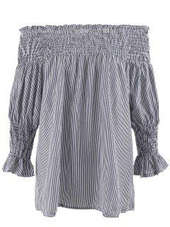 Plus Size Striped Ruffled Off The Shoulder Top - Gray 3xl