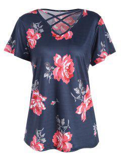 Übergröße Cutout T-Shirt Mit Blumendruck Und Kreuzgurte - Schwarzblau Xl