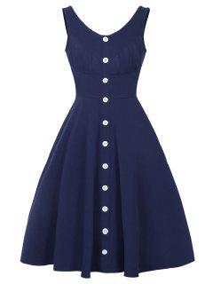 Button Up V Neck Fit And Flare Dress - Deep Blue M