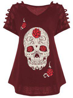 Cut Out Skull Print Plus Size Tee - Red Xl