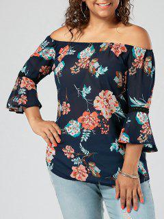 Plus Size Chiffon Floral Off The Shoulde Blouse - Purplish Blue 3xl