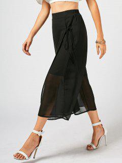 Lace Up Chiffon Overlay Wide Leg Pants - Black 3xl