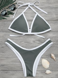 Hohe Schlitz Kontrast Piping Bikini Set - Grau L