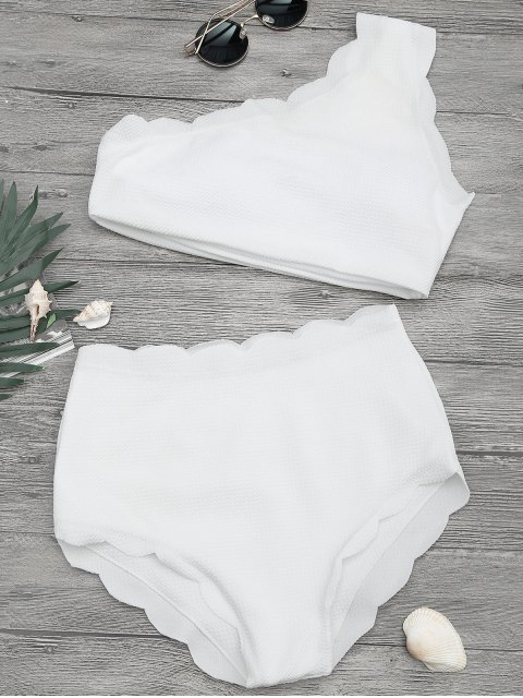 latest High Waisted Scalloped One Shoulder Bikini - WHITE XL Mobile