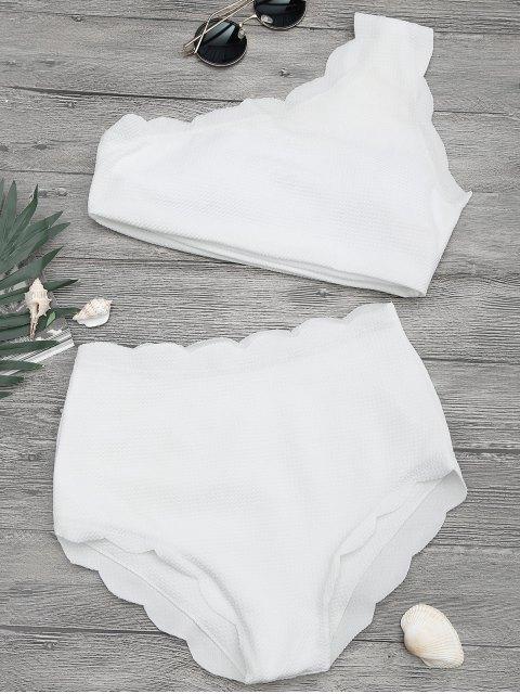 trendy High Waisted Scalloped One Shoulder Bikini - WHITE L Mobile