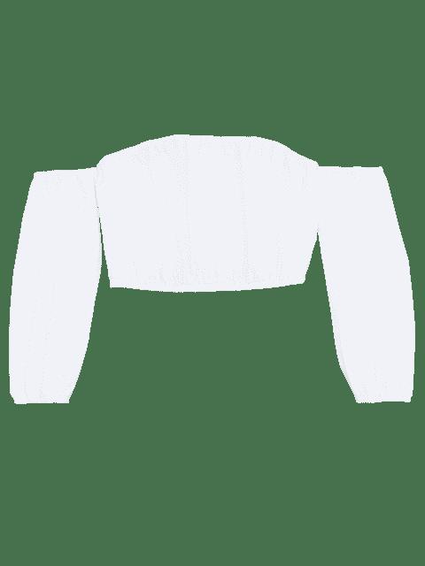 latest Elastic Hem Cropped Off Shoulder Tee - WHITE S Mobile