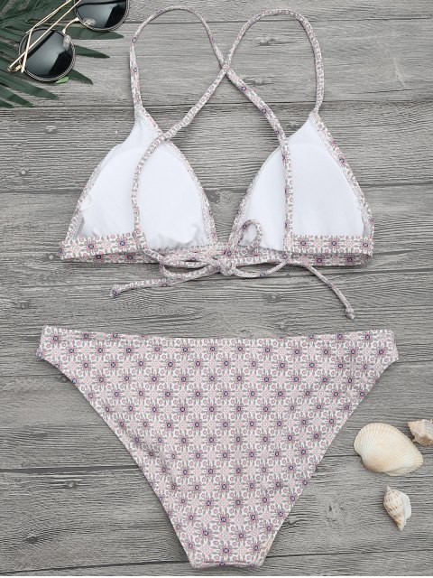 womens Padded Printed Strappy Bikini Set - FLORAL M Mobile