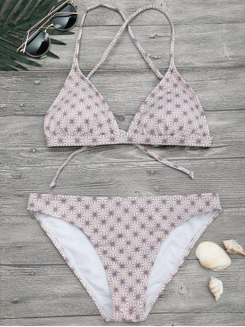 women Padded Printed Strappy Bikini Set - FLORAL S Mobile