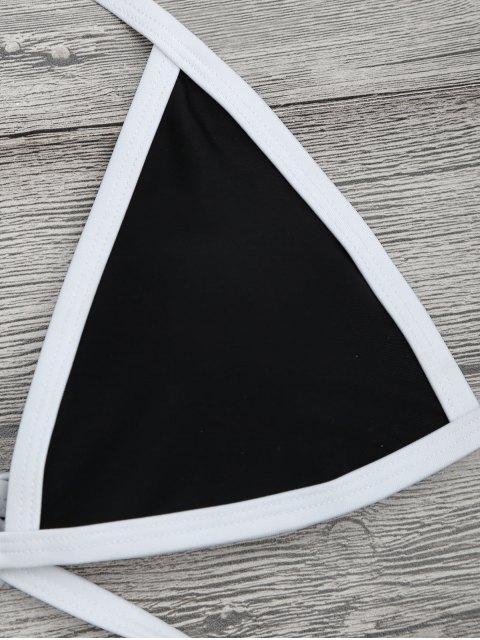 online High Cut Contrast Piping Bikini Set - BLACK M Mobile