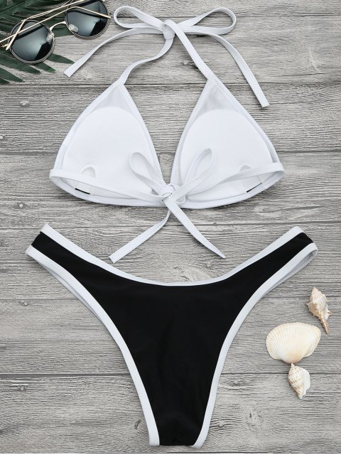 new High Cut Contrast Piping Bikini Set - BLACK S Mobile