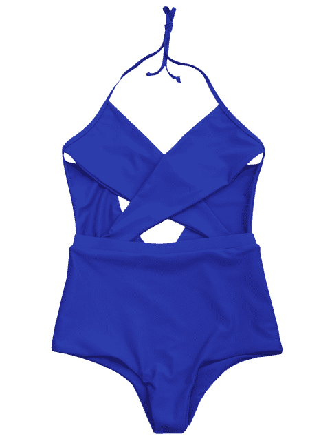 latest Cut Out Cross Front One Piece Swimsuit - BLUE S Mobile