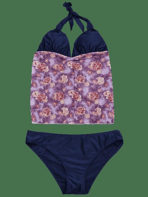 fashion Floral Plus Size Tankini Bathing Suit - FLORAL 4XL Mobile