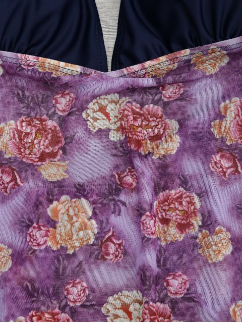chic Floral Plus Size Tankini Bathing Suit - FLORAL 3XL Mobile