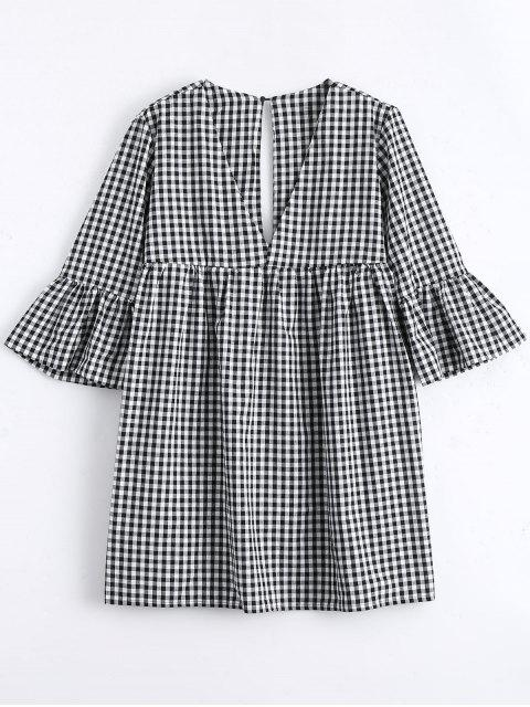 ladies Flare Sleeve Checked Shift Mini Dress - CHECKED S Mobile