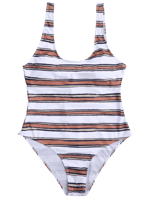 women Striped High Cut One Piece Swimsuit - WHITE AND BROWN M Mobile