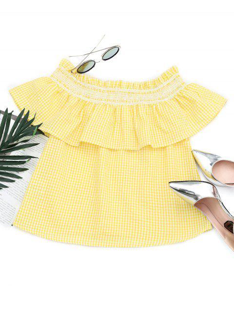 Flounce de la blusa con tirantes de hombro - Amarillo S Mobile