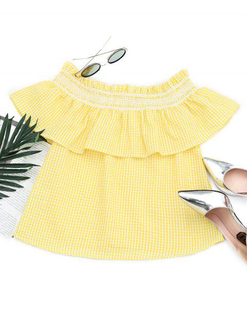 hot Flounce Off The Shoulder Checked Blouse - YELLOW M Mobile