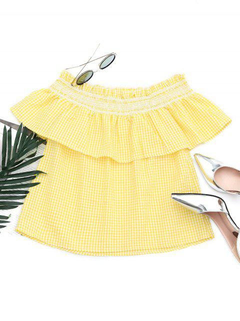 Flounce Off The Shoulder Checked Blouse - Jaune L Mobile